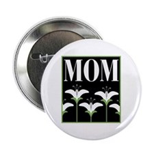 Mom White Flowers Button