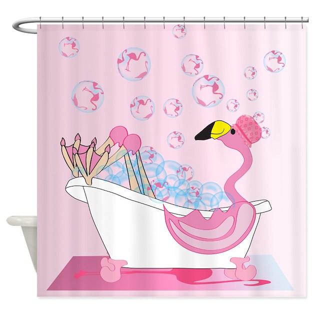 Bubble bath time flamingo shower curtain by naturessol for Flamingo bathroom accessories set