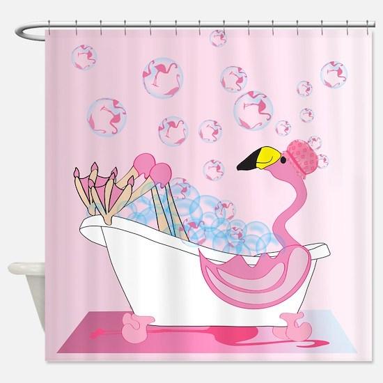 bubble bath time flamingo shower curtain - Pink Flamingo Bath Decor