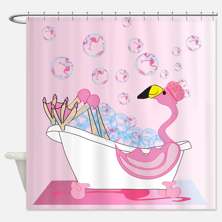pink flamingo shower curtains | pink flamingo fabric shower
