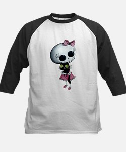 Little Miss Death with black cat Baseball Jersey