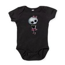 Little Miss Death with black cat Baby Bodysuit