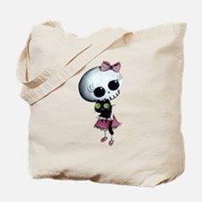 Little Miss Death with black cat Tote Bag