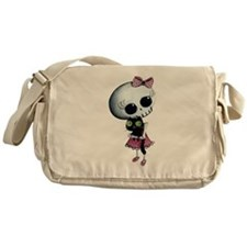 Little Miss Death with black cat Messenger Bag