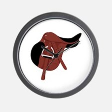 English Hunter Horseback Riding Saddle Wall Clock