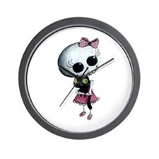 Little Miss Death With Black Cat Wall Clock