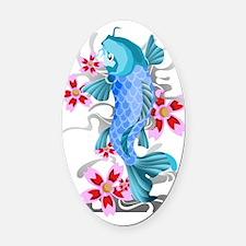 Blue Koi Fish Oval Car Magnet