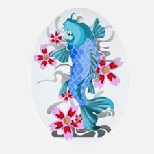 Blue Koi Fish Oval Ornament