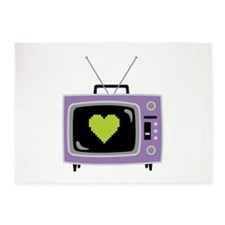 Pixel Heart Television 5'x7'Area Rug