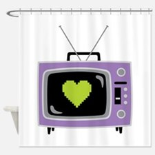 Pixel Heart Television Shower Curtain