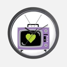 Pixel Heart Television Wall Clock