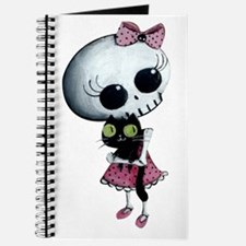 Little Miss Death with black cat Journal