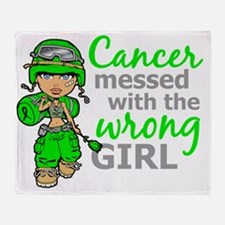 Combat Girl General Lymphoma Throw Blanket