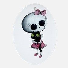 Little Miss Death With Black Cat Ornament (Oval) O
