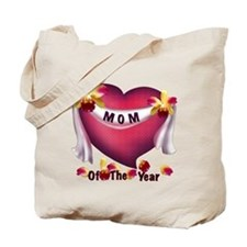 Textured Heart Mom of the Year Tote Bag