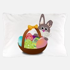 Bunny Rabbit With Basket Of Easter Pillow Case