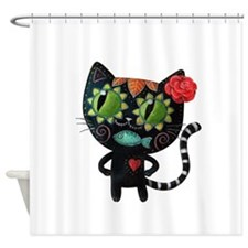 Black Cat of The Dead Shower Curtain