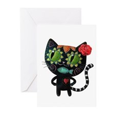 Black Cat of The Dead Greeting Cards