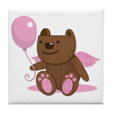 Cute wooden brown bear with a balloon Tile Coaster