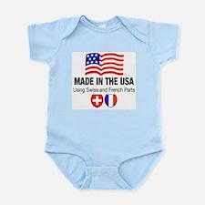 French Swiss Blue Infant Bodysuit