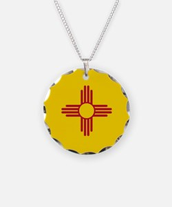 Flag of New Mexico Necklace Circle Charm