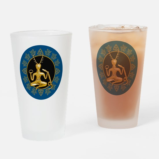 Gold Cernunnos With Snake in Circle Drinking Glass