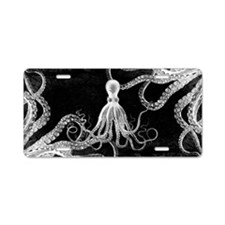 Vintage Octopus Dark Aluminum License Plate