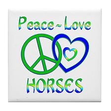 Peace Love Horses Tile Coaster