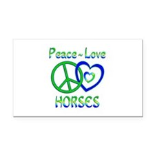 Peace Love Horses Rectangle Car Magnet