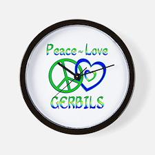 Peace Love Gerbils Wall Clock