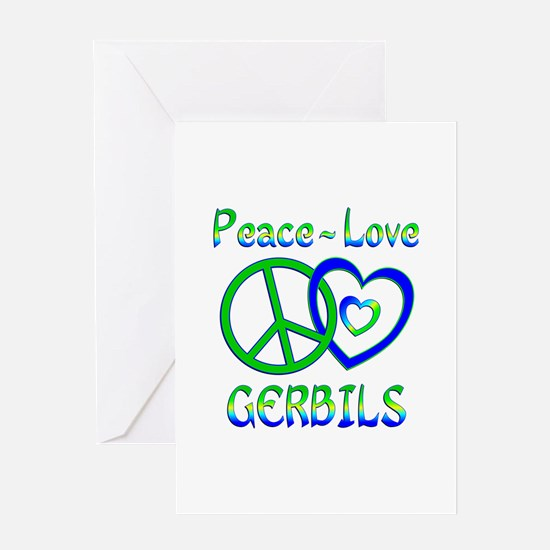 Peace Love Gerbils Greeting Card