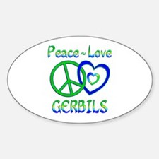 Peace Love Gerbils Sticker (Oval)