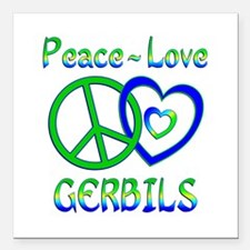"Peace Love Gerbils Square Car Magnet 3"" x 3"""