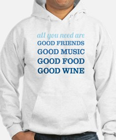 Good Friends Food Wine Jumper Hoody