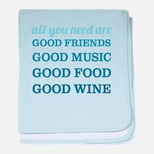 Good Friends Food Wine baby blanket