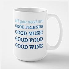 Good Friends Food Wine Large Mug