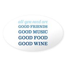 Good Friends Food Wine Decal