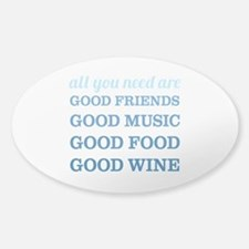 Good Friends Food Wine Decal