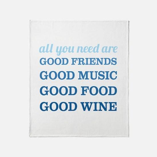Good Friends Food Wine Throw Blanket