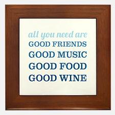 Good Friends Food Wine Framed Tile