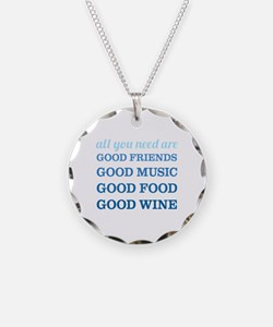 Good Friends Food Wine Necklace