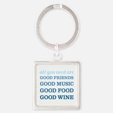 Good Friends Food Wine Square Keychain