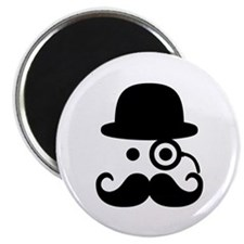 "Smiley Mustache monocle 2.25"" Magnet (10 pack)"