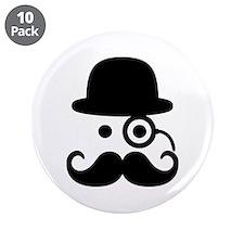 "Smiley Mustache monocle 3.5"" Button (10 pack)"