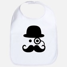 Smiley Mustache monocle Bib