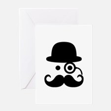 Smiley Mustache monocle Greeting Card