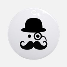 Smiley Mustache monocle Ornament (Round)