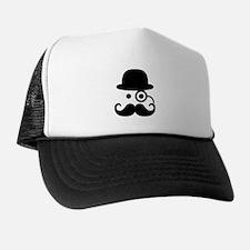 Smiley Mustache monocle Trucker Hat