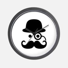 Smiley Mustache monocle Wall Clock