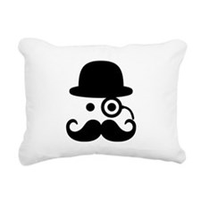 Smiley Mustache monocle Rectangular Canvas Pillow